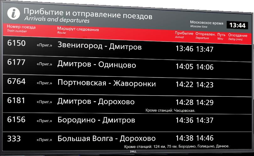 Изображение экрана расписания системы автоинформатор