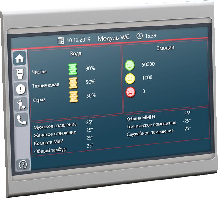 Экрана системы мониторинга туалетных модулей